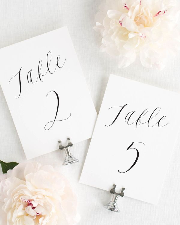 Ethereal Calligraphy Table Numbers