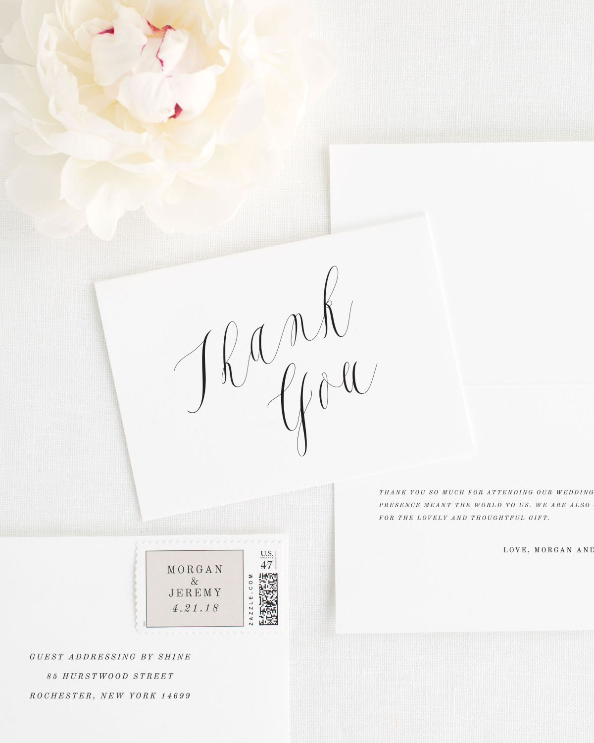 Calligraphy Thank You Cards for Weddings