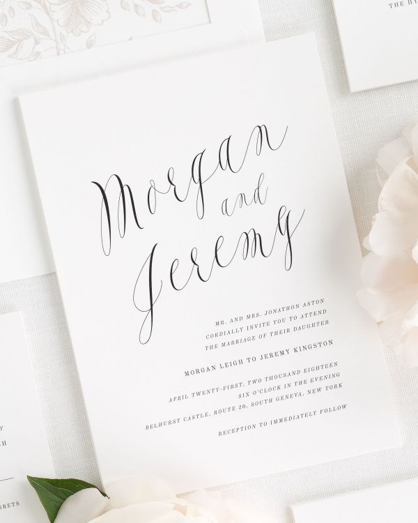 Ethereal Calligraphy Wedding Invitations