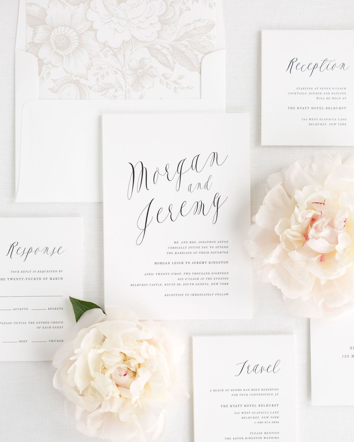 Wedding Invitation Package with Modern Calligraphy and Floral Envelope Liner