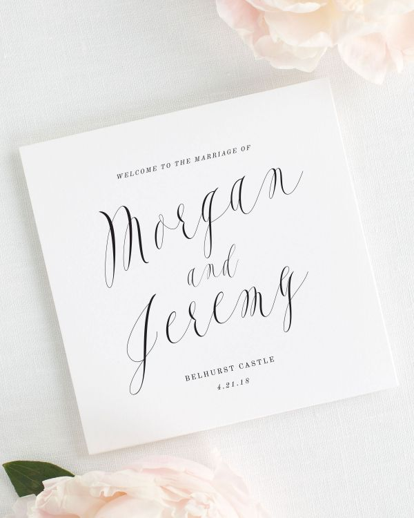 Ethereal Calligraphy Wedding Programs