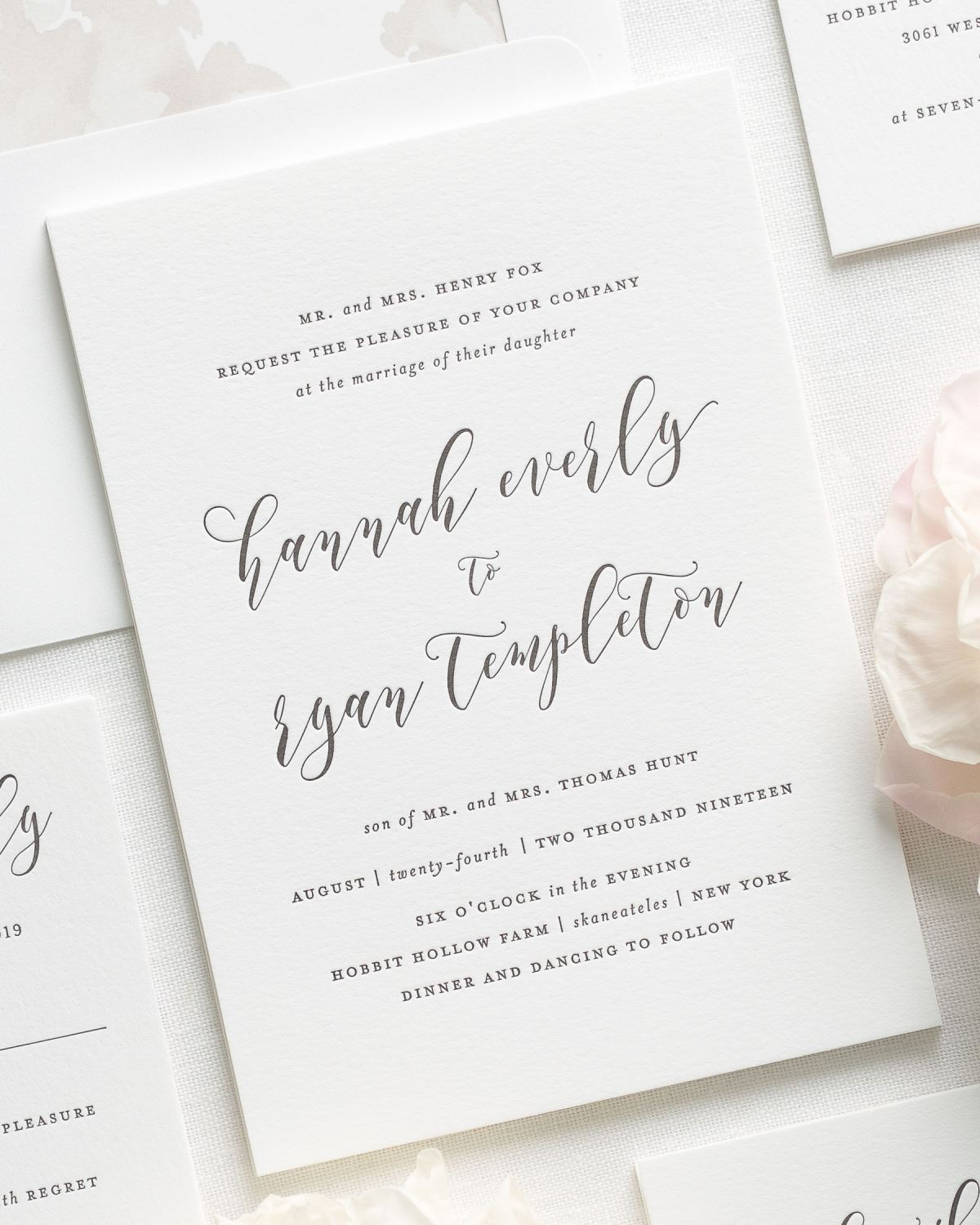 sweet and romantic letterpress wedding invitations with a mocha liner