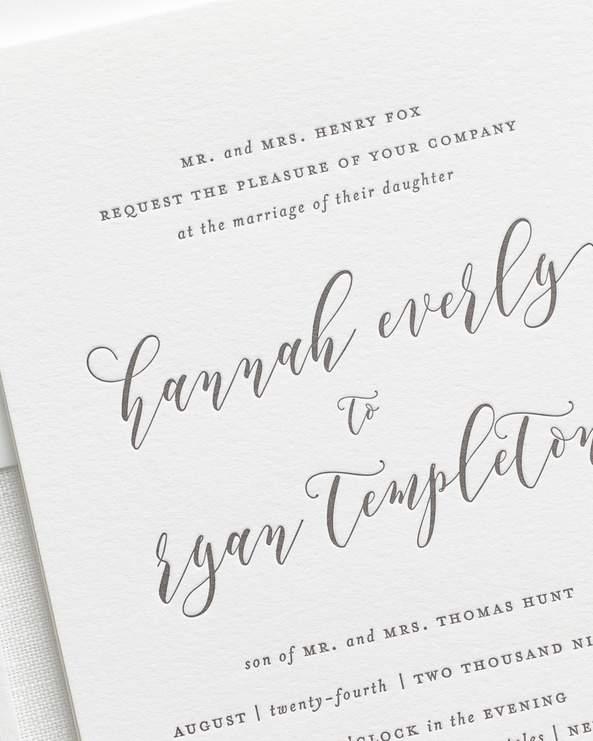 Letterpress Wedding Invitation Detail Close Up