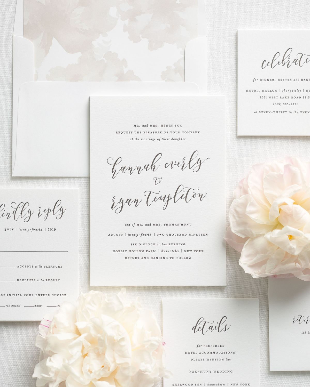 Letterpress Wedding Invitation Suite with Enclosures and Watercolor Envelope Liner