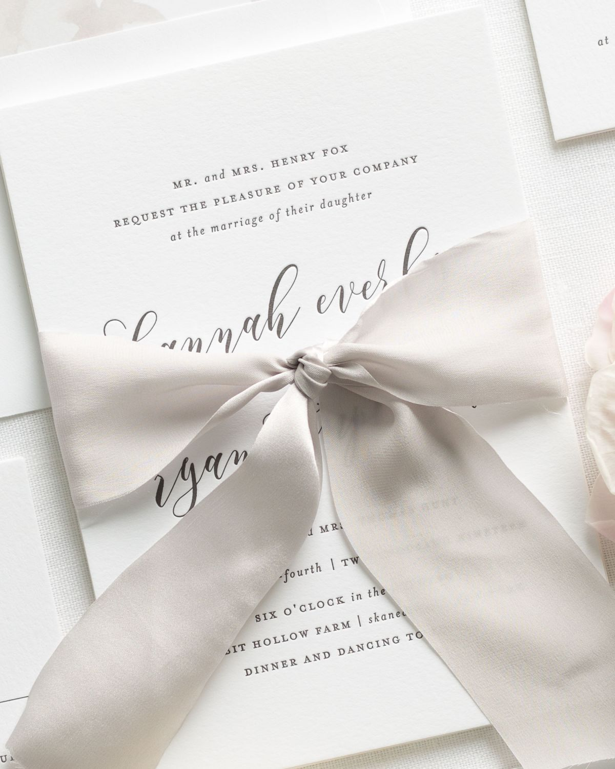 Letterpress Wedding Invitations with Silk Ribbon in Warm Gray