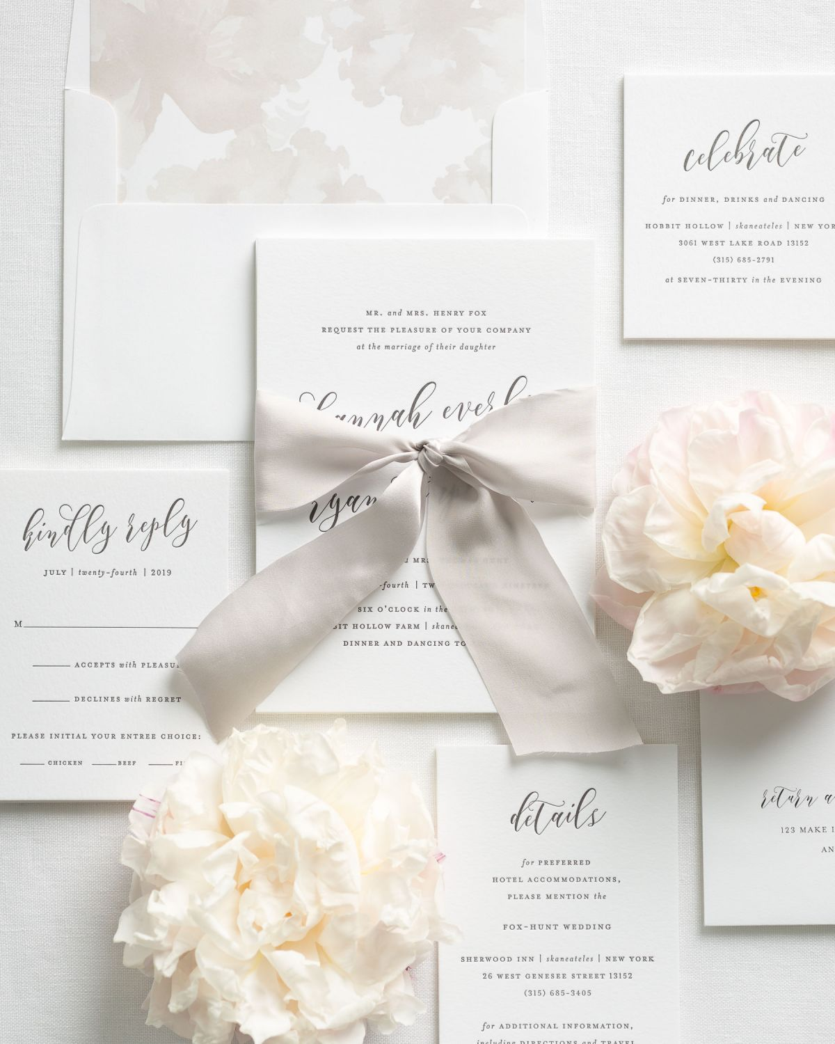Ribbon Wedding Invitation Suite with Letterpress Printing