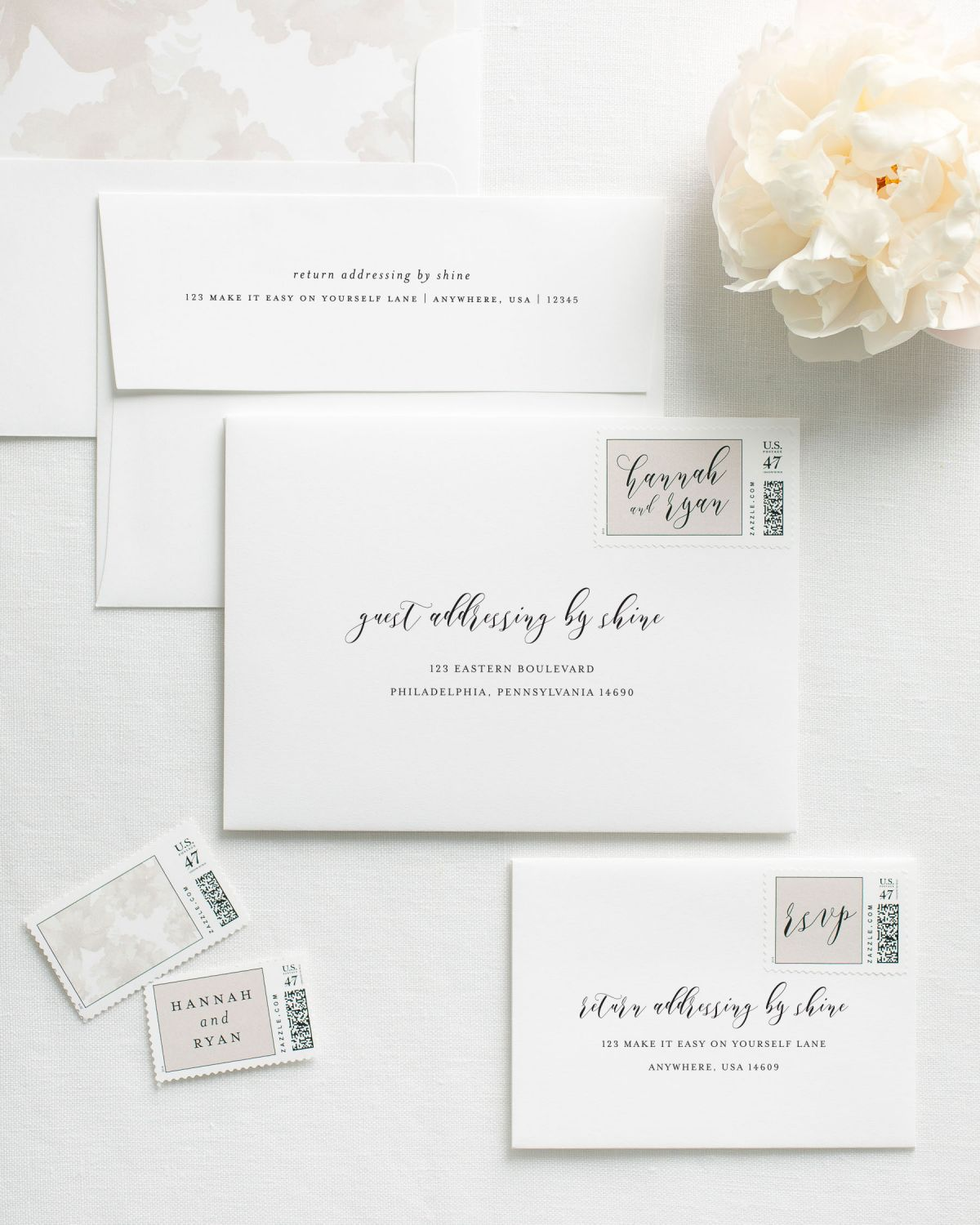 Guest Addressed Envelopes for Wedding Invitations