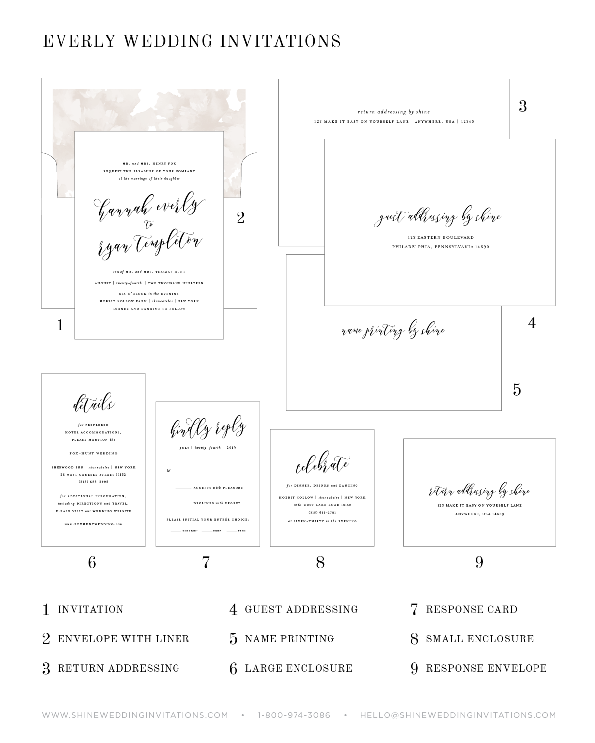 Wedding Invitation Pieces and Explanation