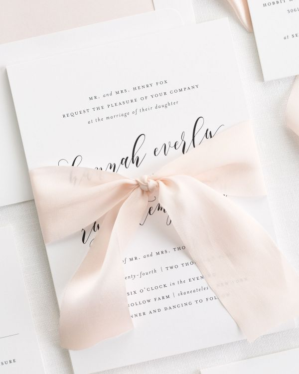 Everly Ribbon Wedding Invitations