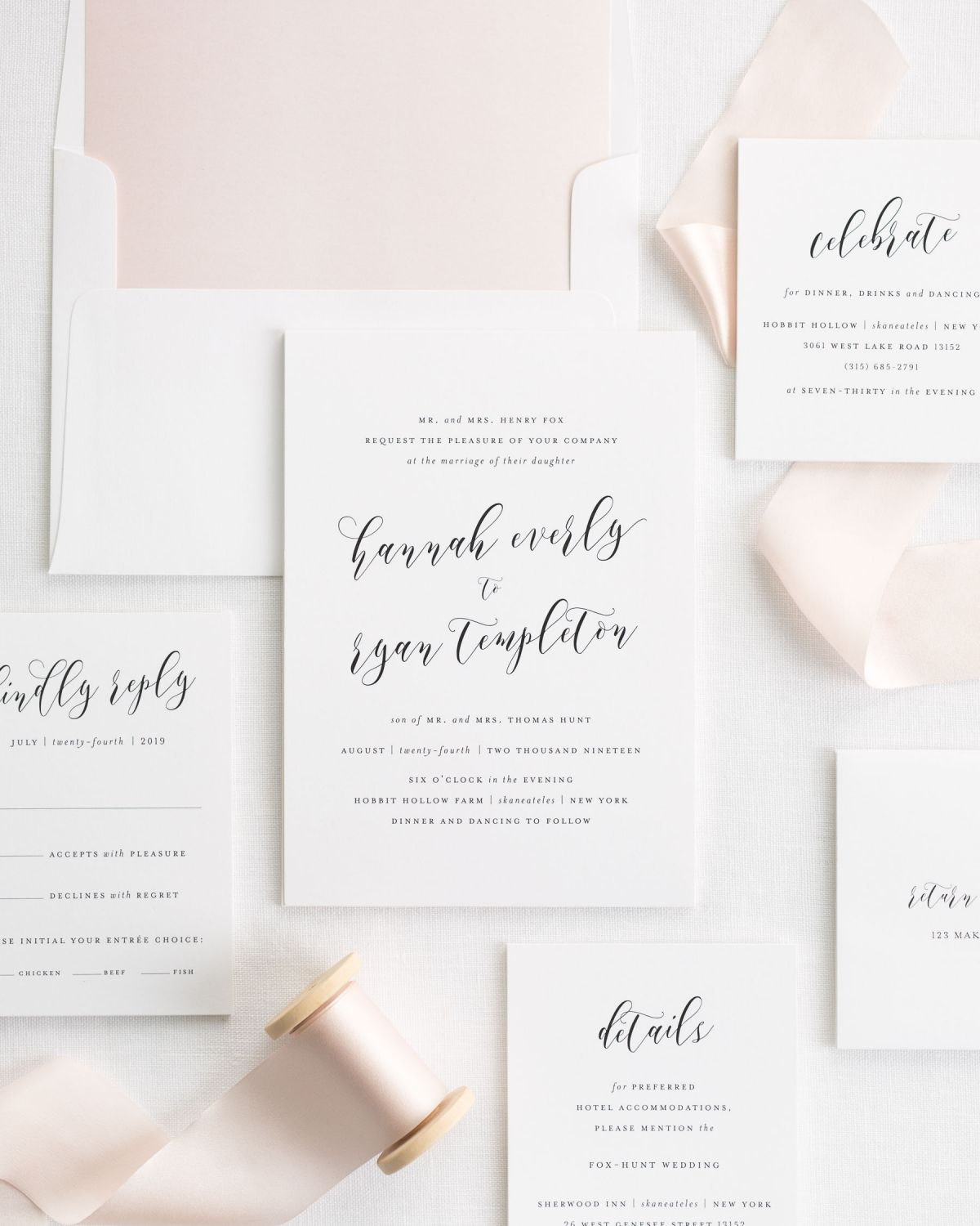 Wedding Invitation Suite with Silk Ribbon and a Watercolor Envelope Liner