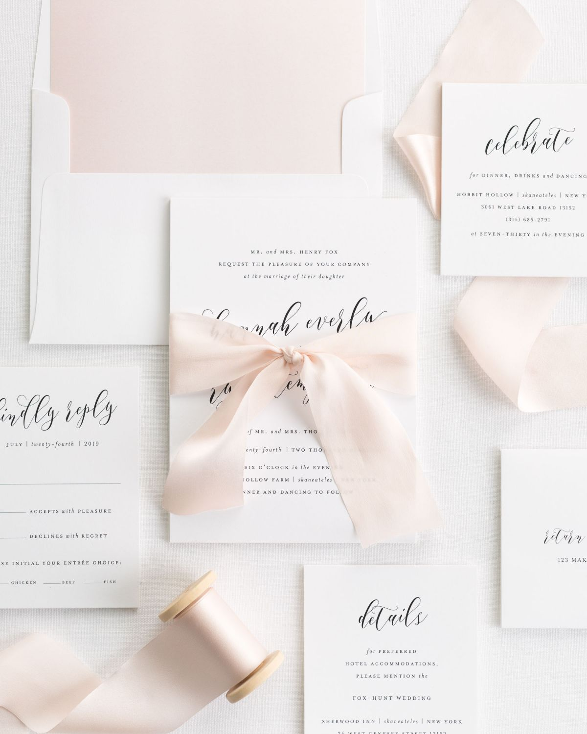 Complete Wedding Invitations Suite with Pale Pink Ribbon and Enclosures