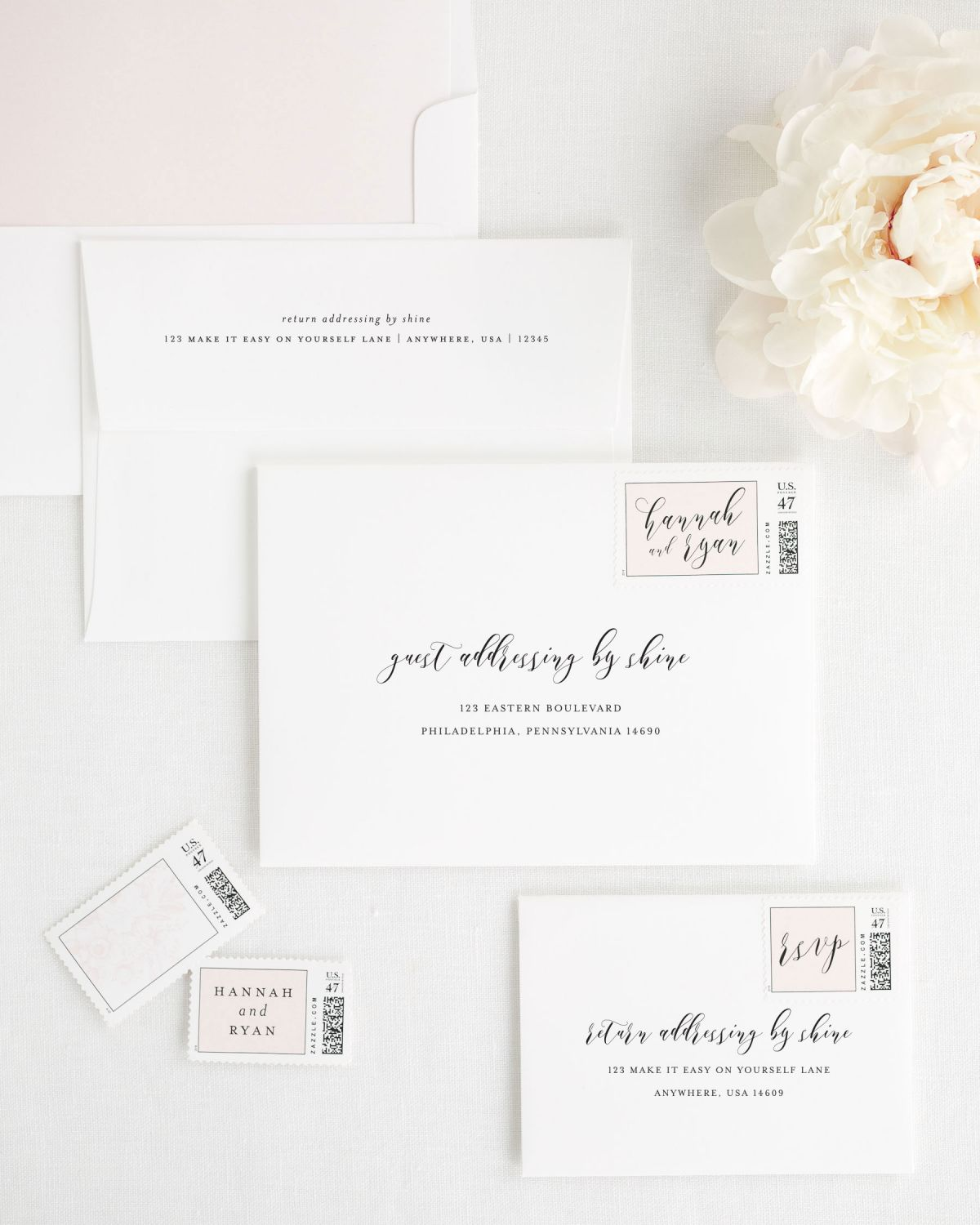Wedding Invitation Envelopes with Guest Addressing and Personalized Postage