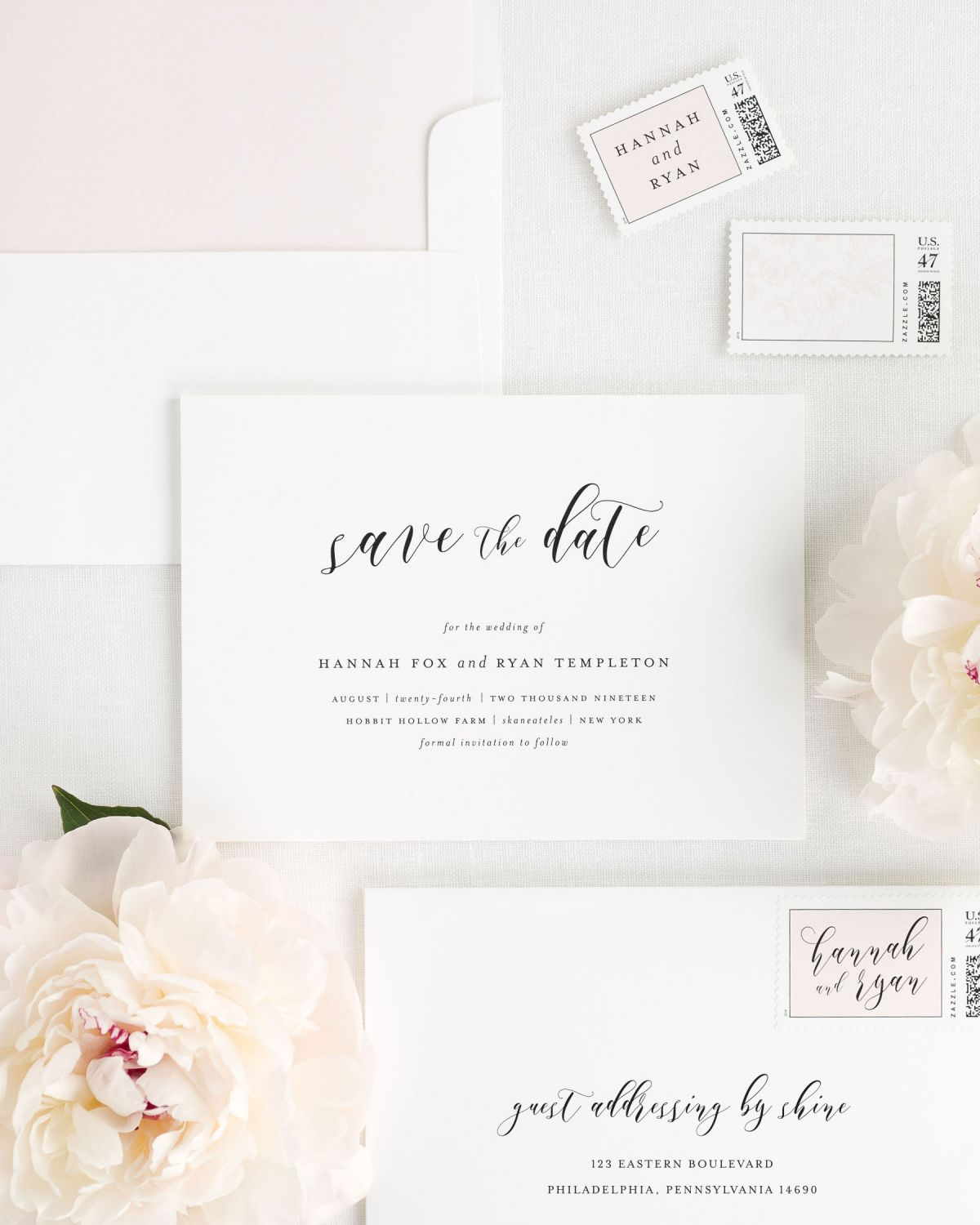Save the Date with Peony Envelope Liner and Personalized Postage