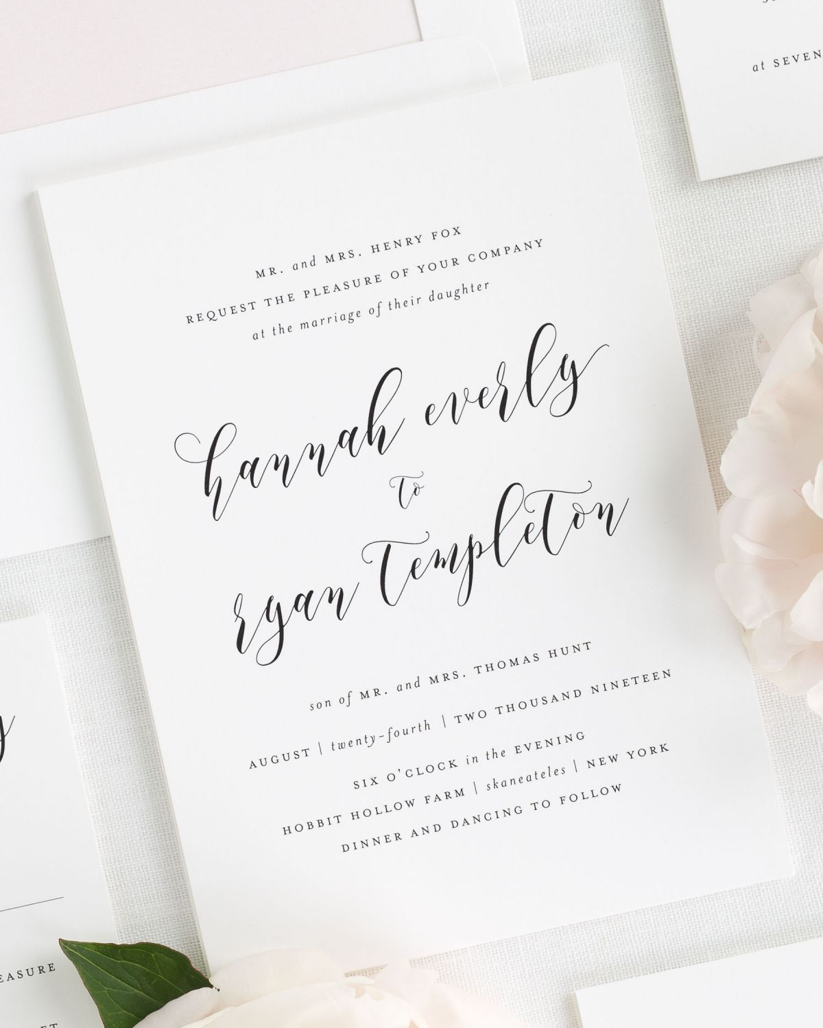 Classic Wedding Invitations with a Peony Pink Watercolor Liner