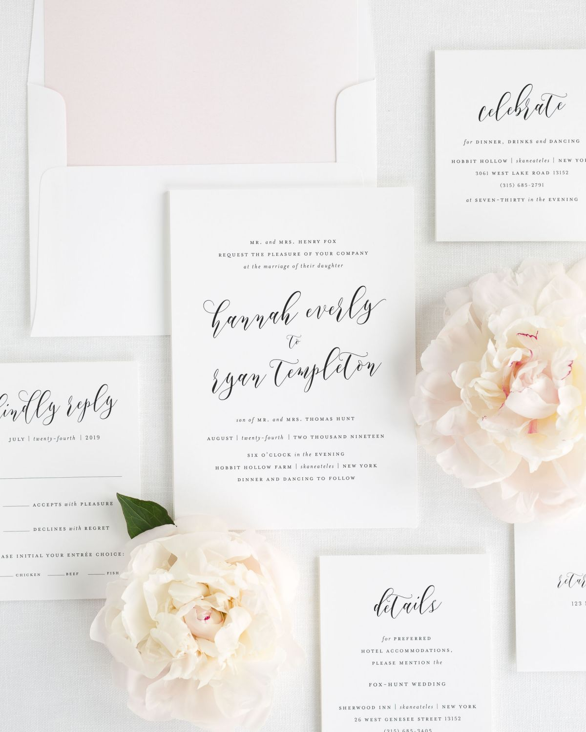 Modern Calligraphy Wedding Invitation Suite with Light Pink Envelope Liner