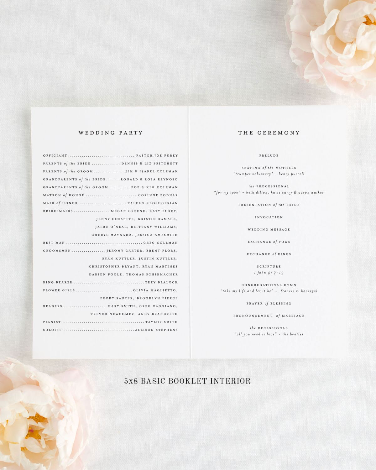 "Folded 5x8"" Wedding Program Interior"