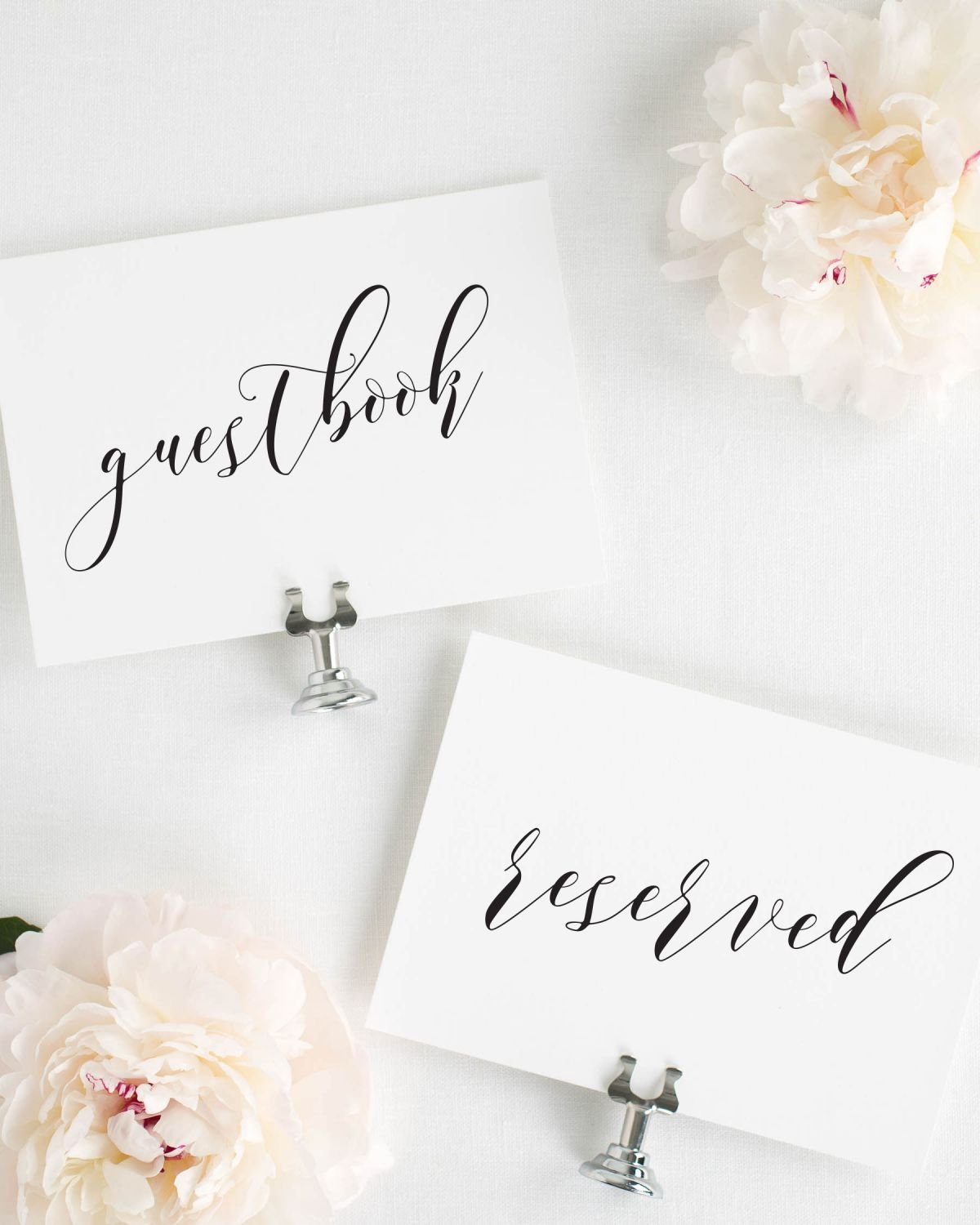 Calligraphy Guestbook and Reserved Signs