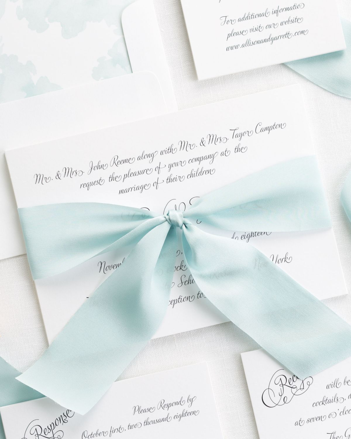 Fairytale Wedding Invitation in All Script on White Shimmer ...