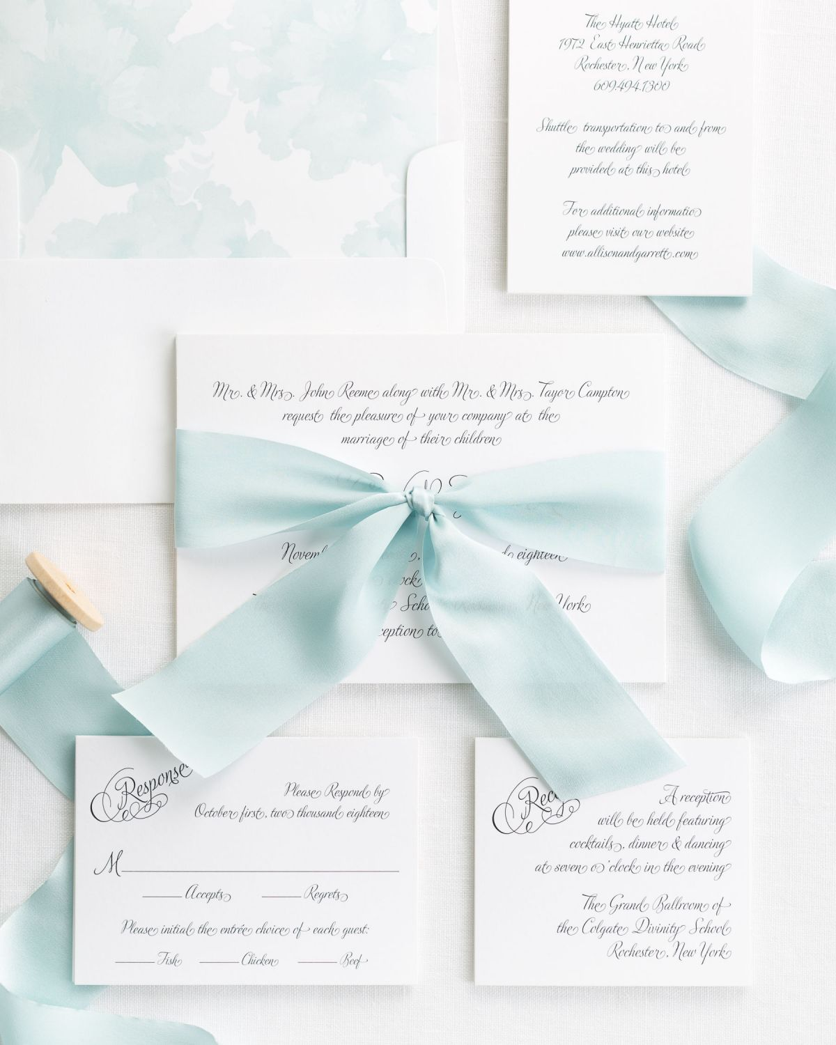 Complete Wedding Invnitations with Mint Ribbon and Enclosures