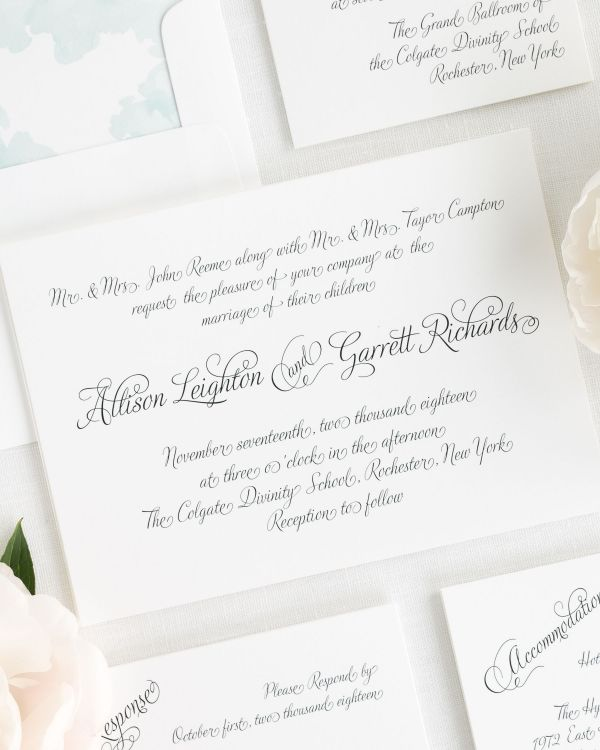 Fairytale Script Wedding Invitations