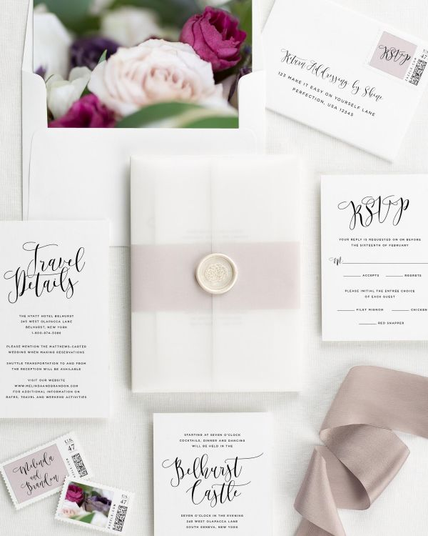 Flowing Calligraphy Floral Wedding Invitations