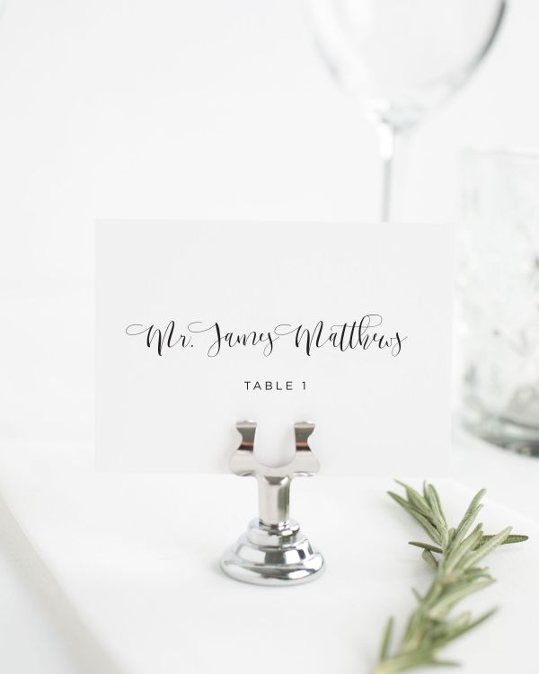 Flowing Calligraphy Place Cards