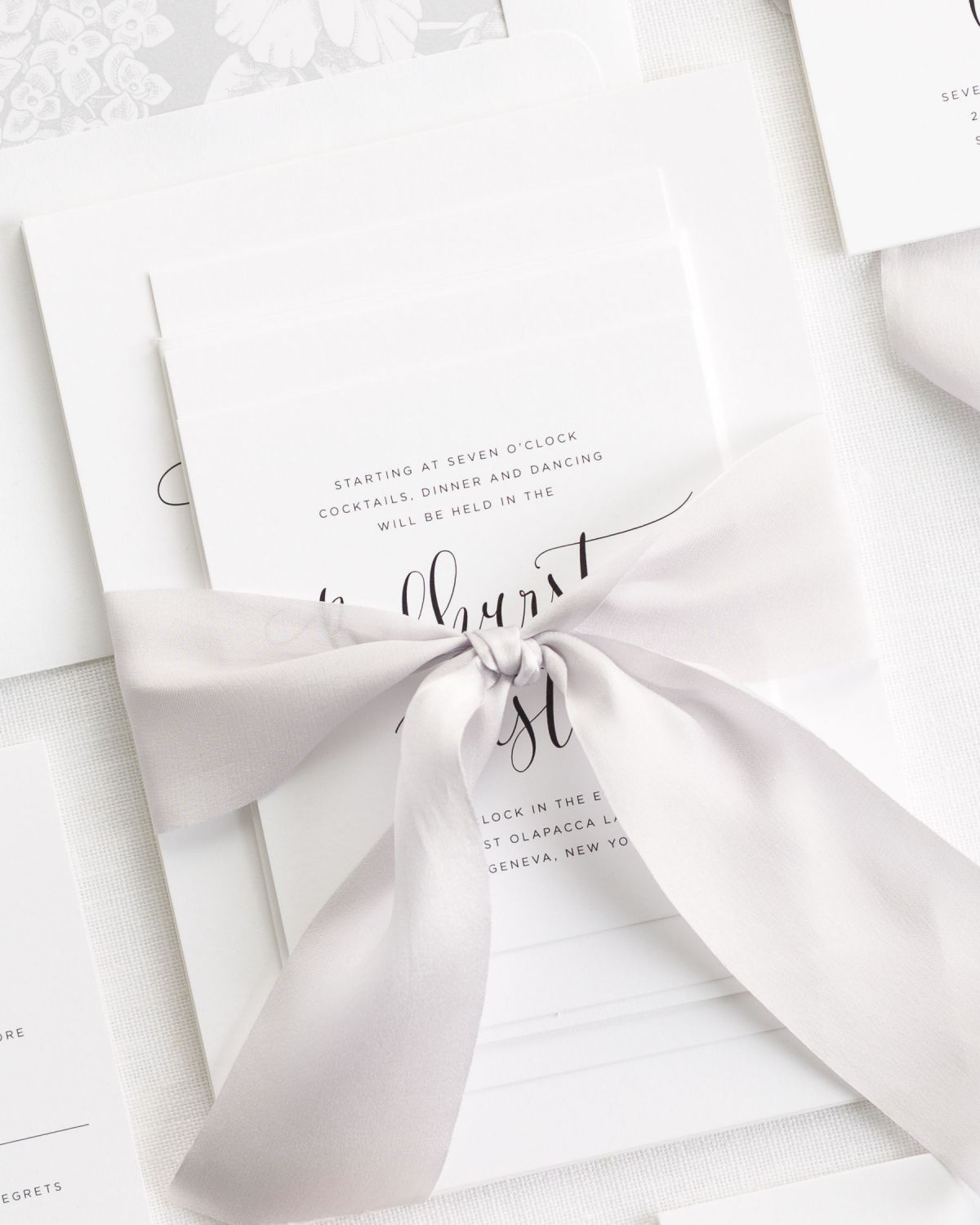 Silver Wedding Invitations with Gray Silk Ribbon