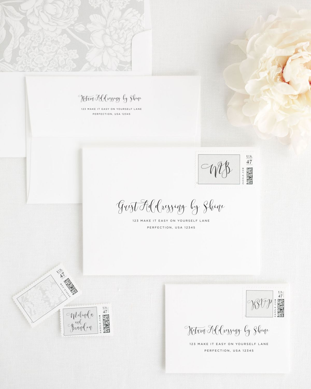 Wedding Invitations Envelopes with Guest Addressing and Custom Stamps
