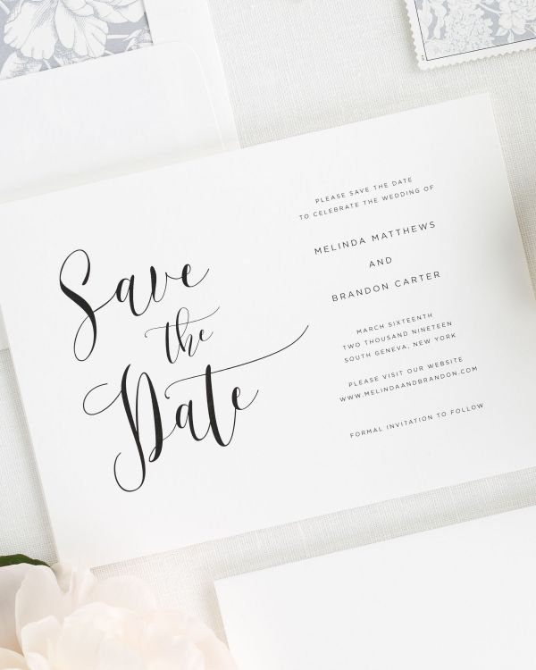 Flowing Calligraphy Save the Date Cards