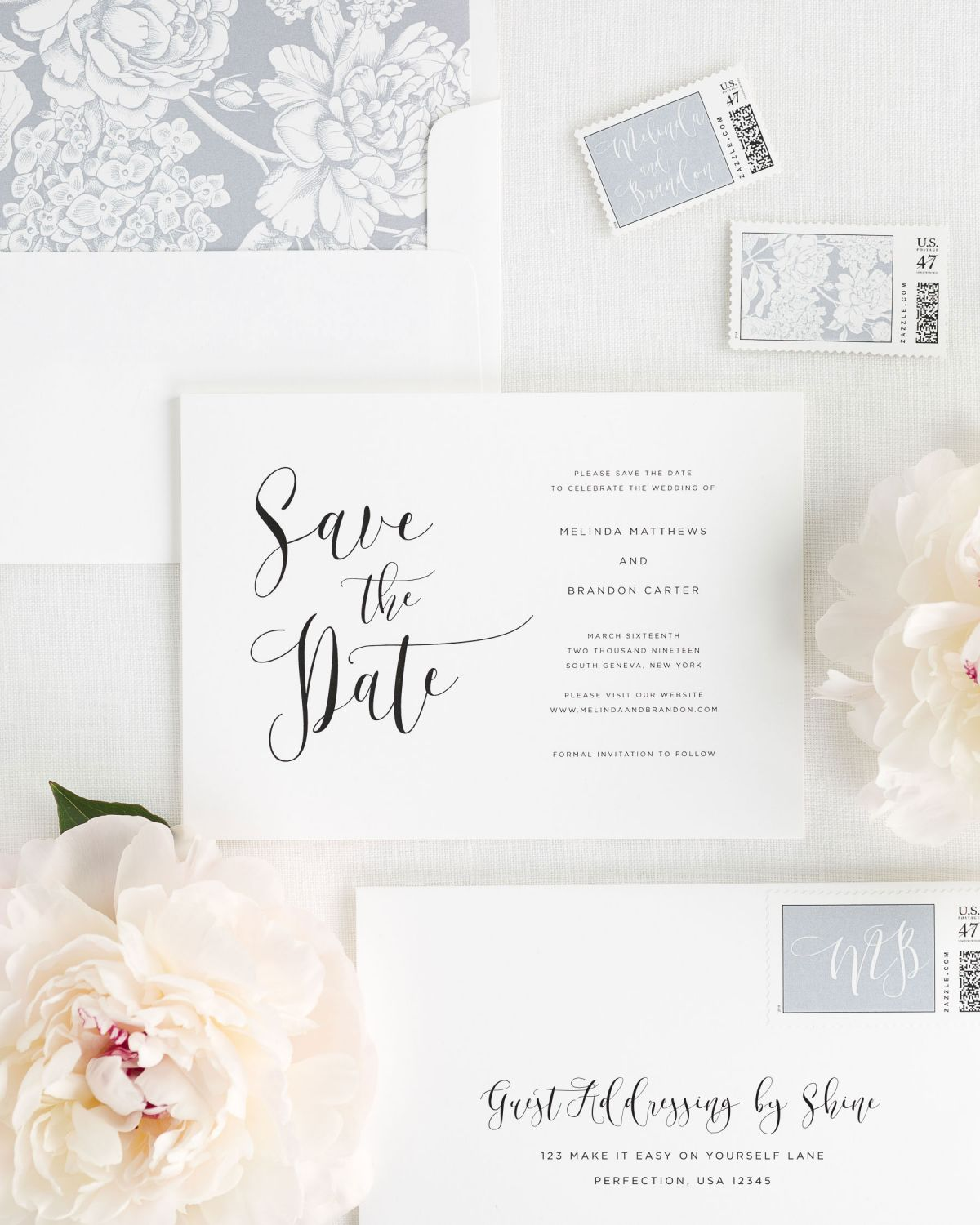 Save the Date with Dove Envelope Liner and Custom Stamps