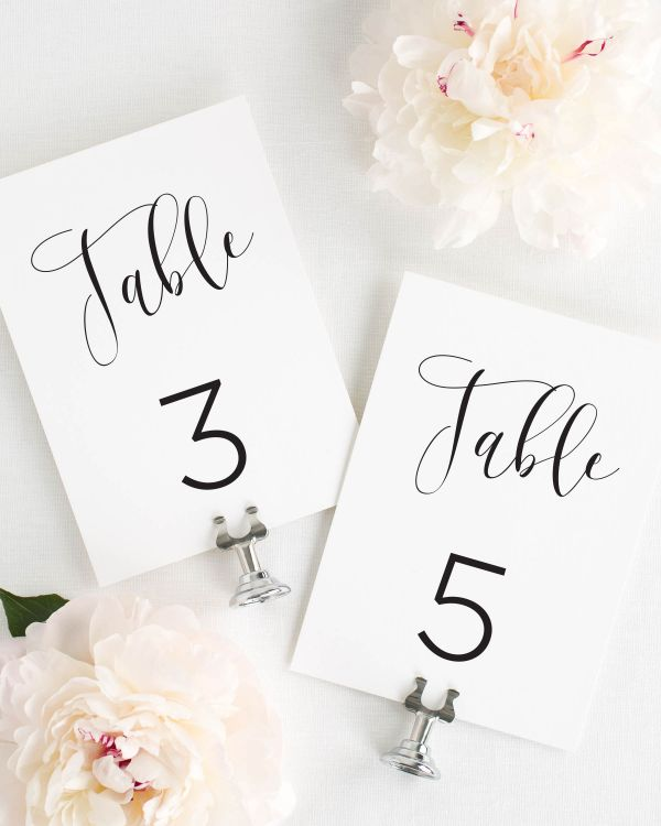 Flowing Calligraphy Table Numbers