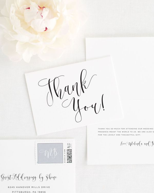 Flowing Calligraphy Thank You Cards