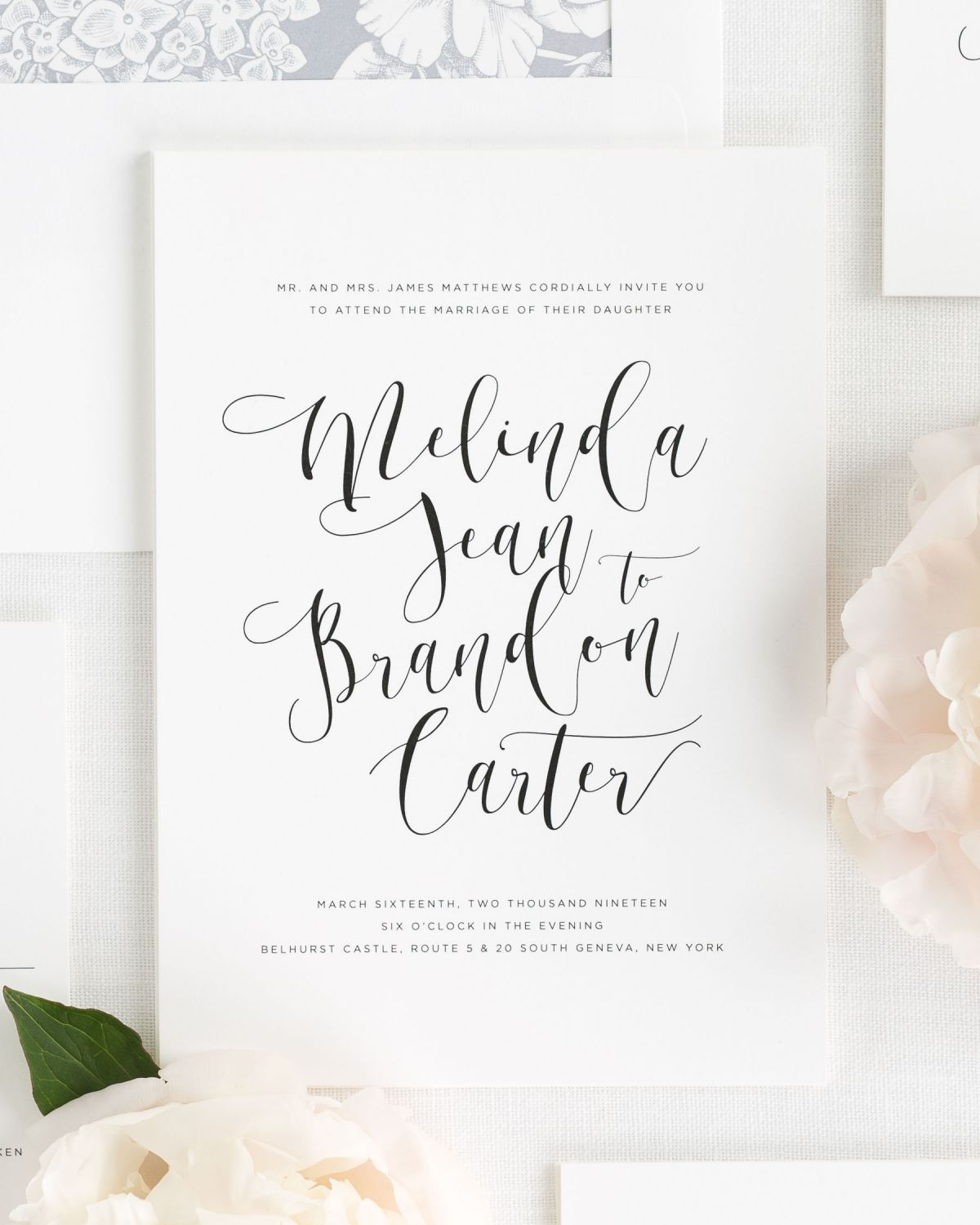 Flowing Calligraphy Wedding Invitations Wedding