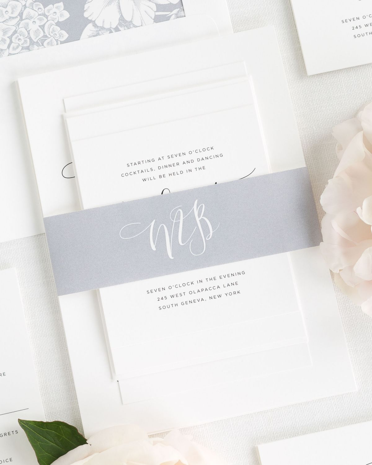 Dove Gray Wedding Invitations With Belly Band And Fl Envelope Liner