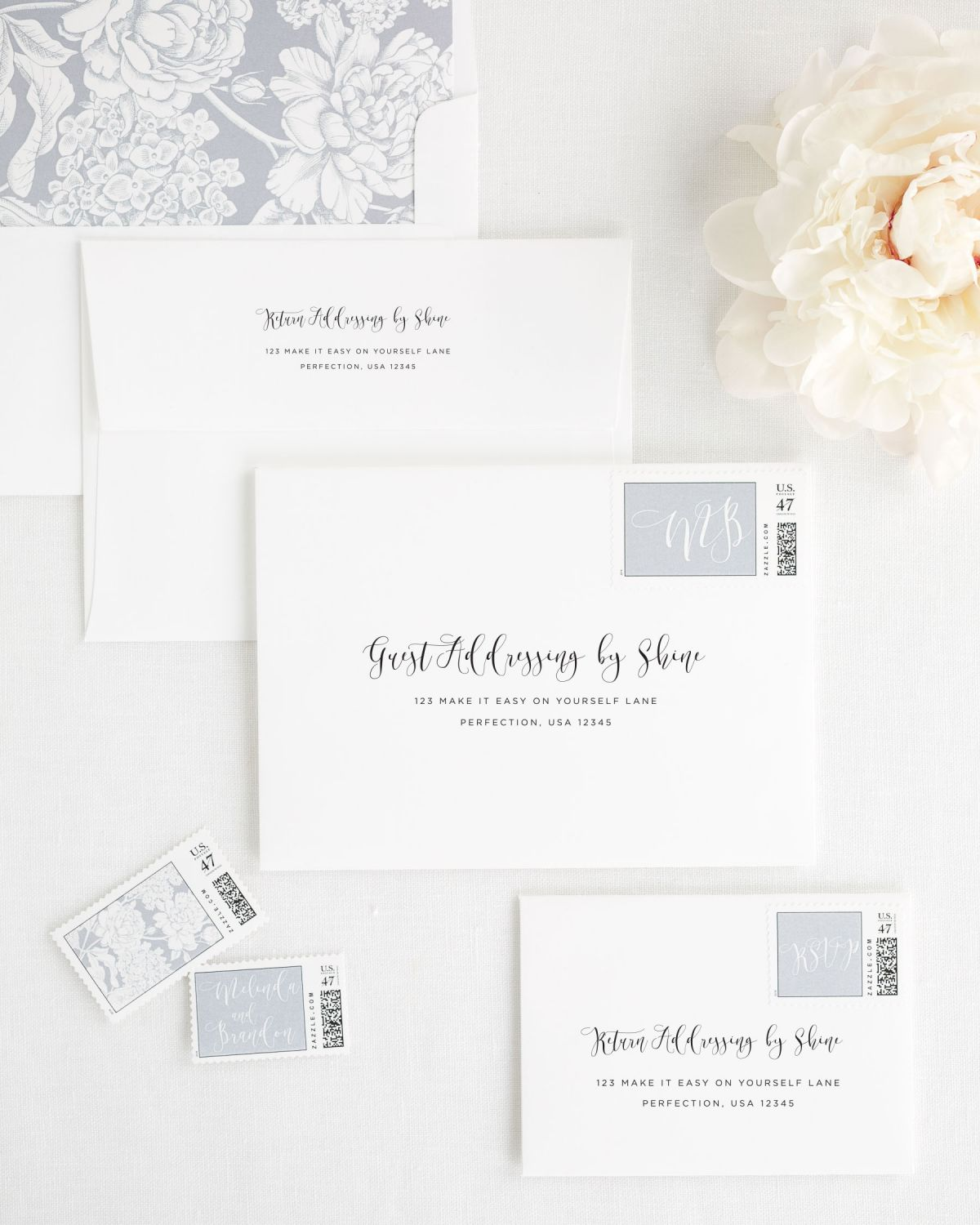 Wedding Invitation Envelopes with Dove Gray Personalized Stamps and Floral Liner