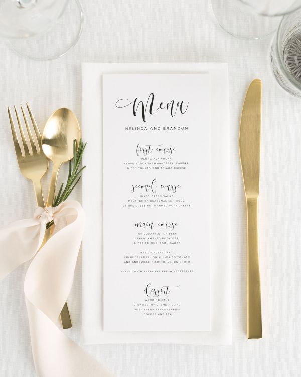 Flowing Calligraphy Wedding Menus