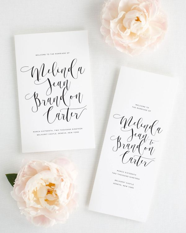 Flowing Calligraphy Booklet Wedding Programs