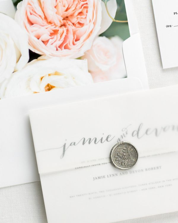 Flowing Script Floral Wedding Invitations