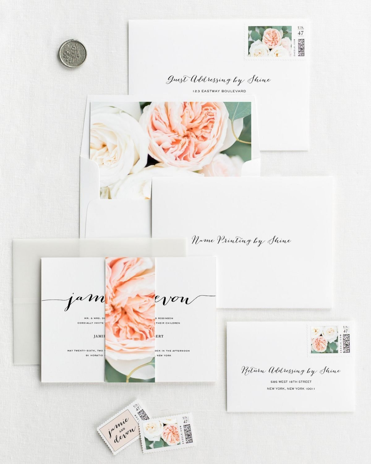Floral Wedding Invitation Envelopes