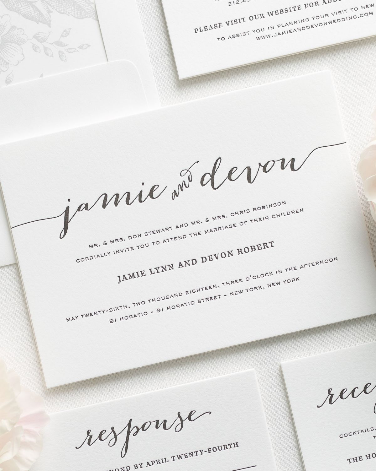Flowing script letterpress wedding invitations letterpress wedding previous letterpress printing up close light gray letterpress wedding invitations solutioingenieria Choice Image