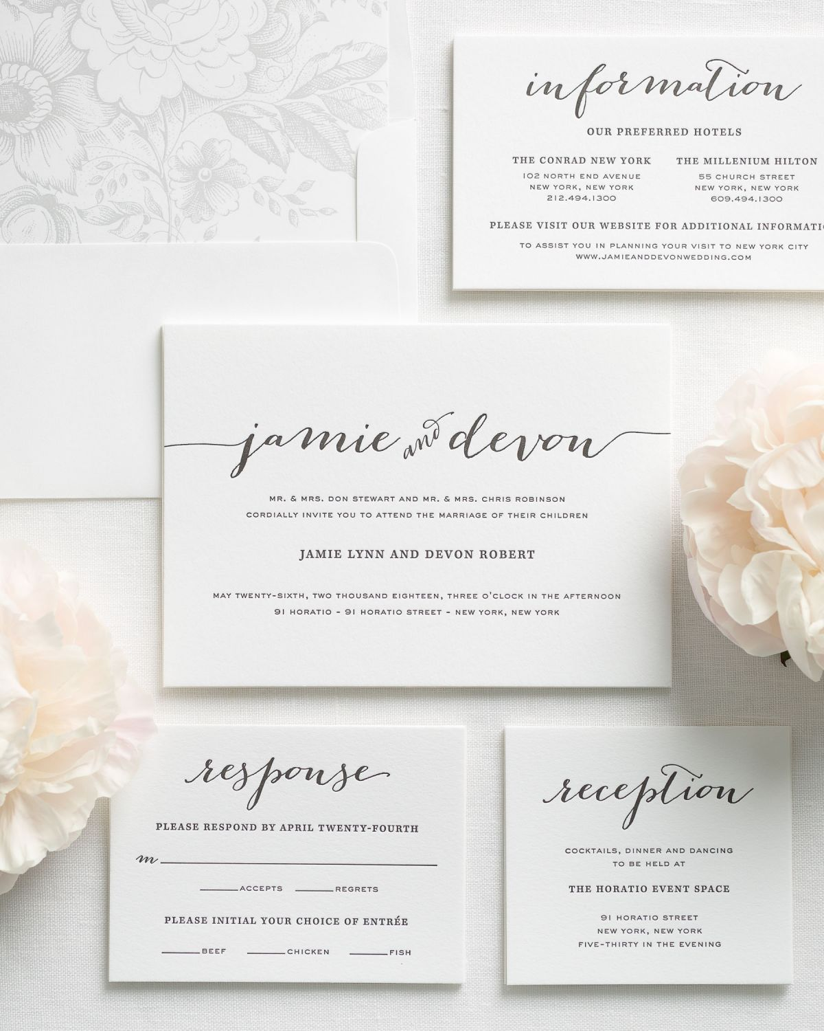 Flowing script letterpress wedding invitations for Letterpress wedding invitations manila philippines