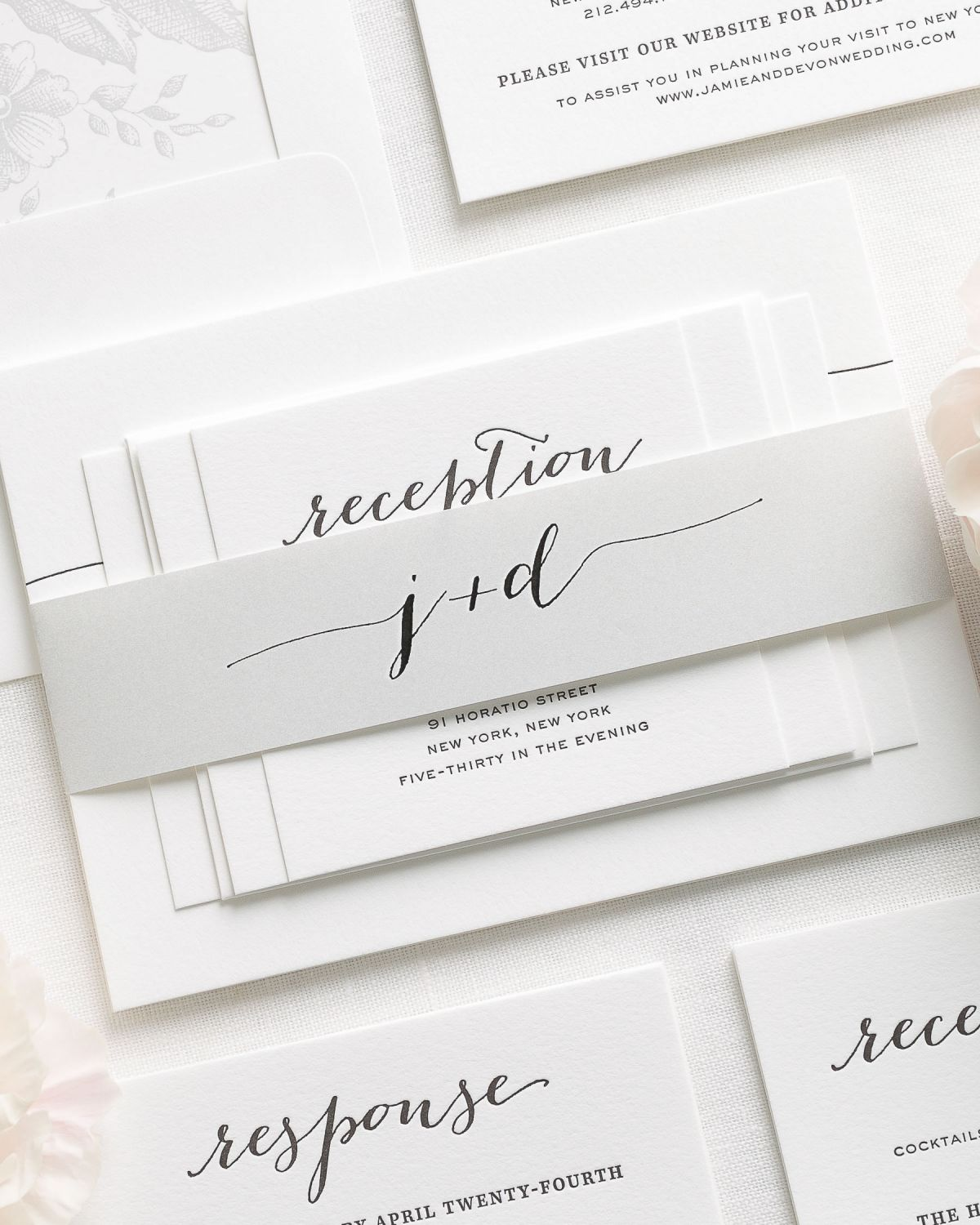 Light Gray Letterpress Wedding Invitations with Script Initials and Belly Band