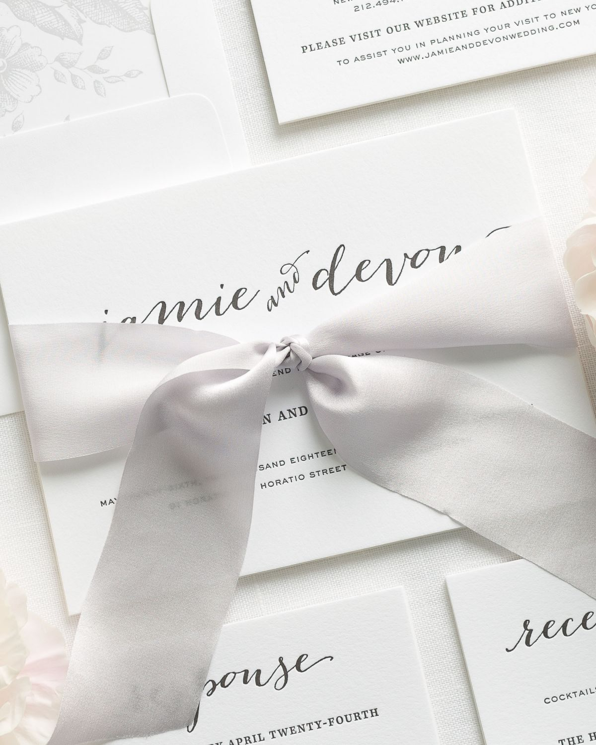 Calligraphy Letterpress Invitations in light gray
