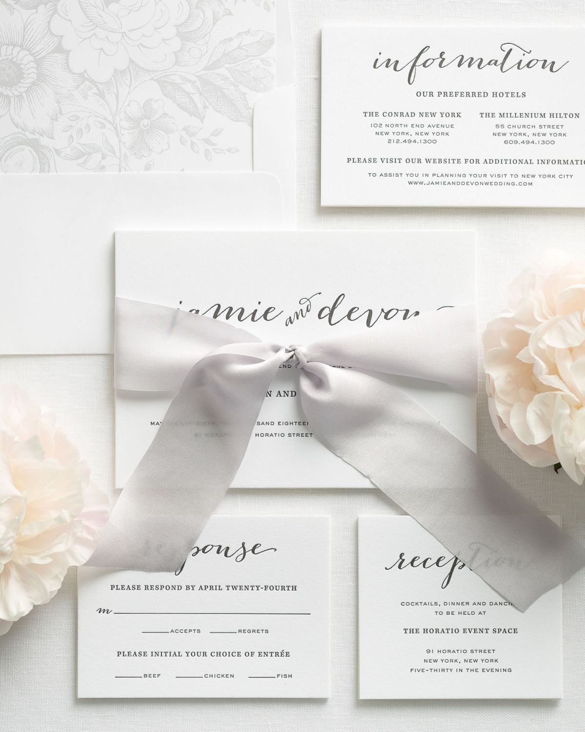 Gray Letterpress Wedding Invitations with Ribbon