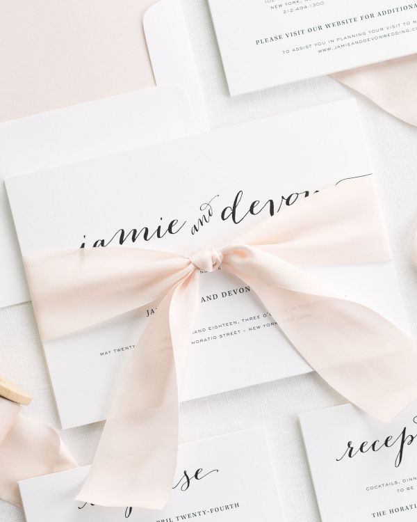 Flowing Script Ribbon Wedding Invitations