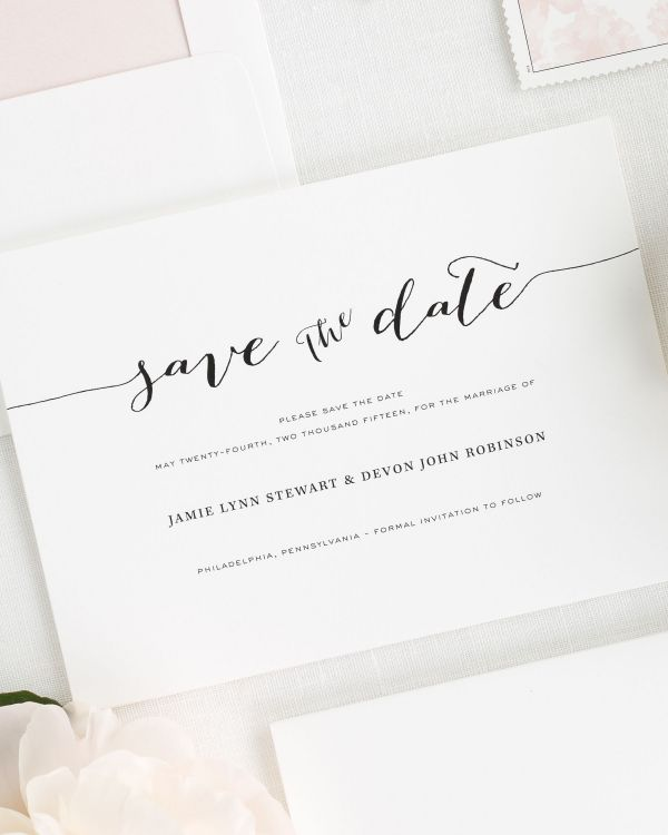Flowing Script Save the Date Cards