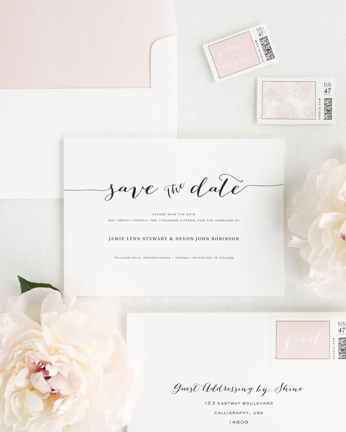 Save the Date with Blush Envelope Liner and Personalized Stamps
