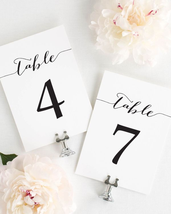 Flowing Script Table Numbers