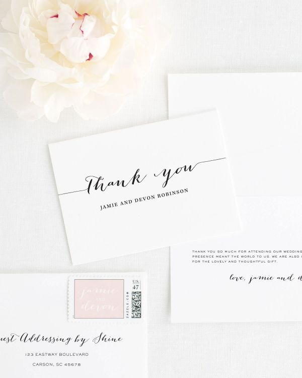 Flowing Script Thank You Cards