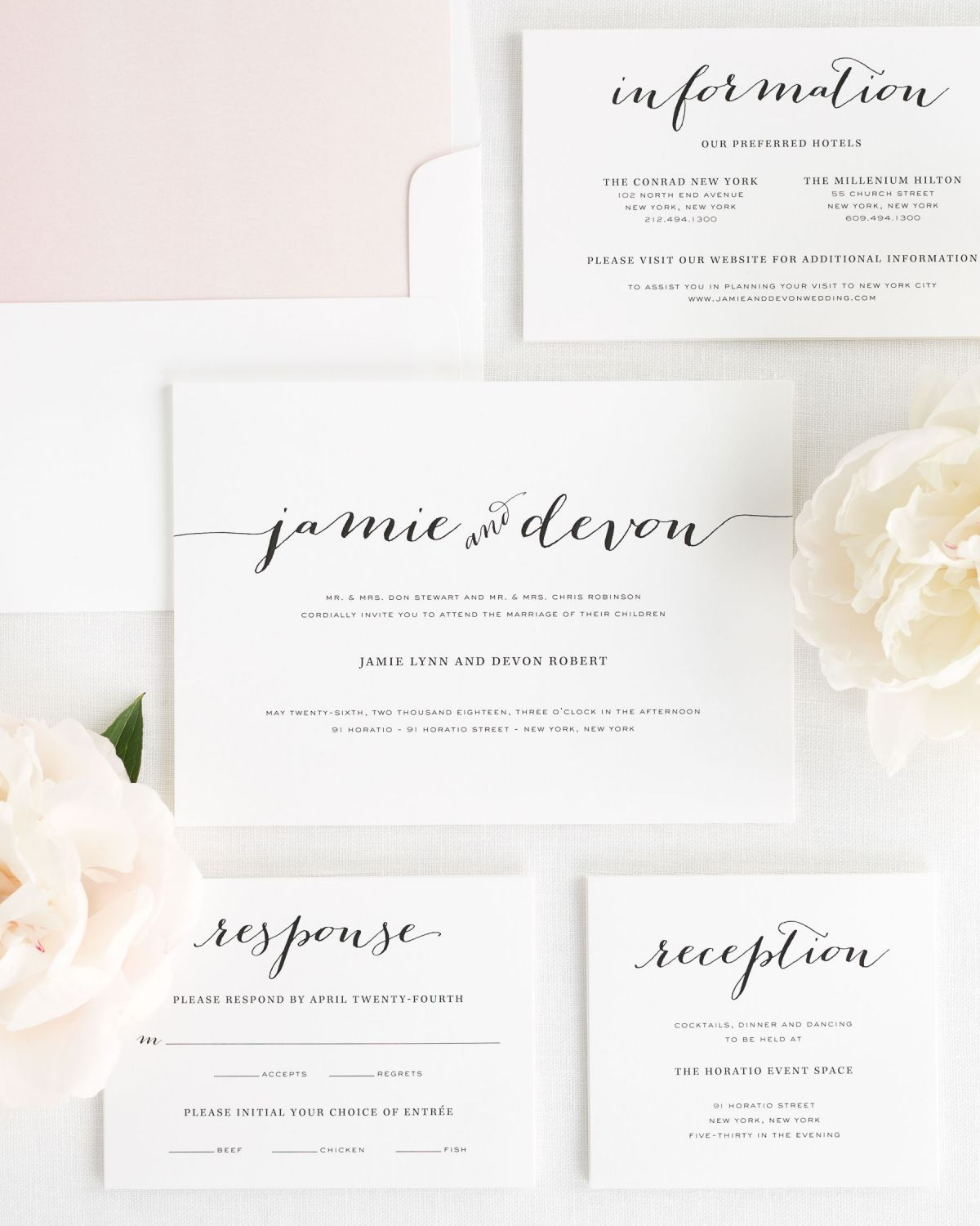 Wedding Invitation Set with Blush Envelope Liner
